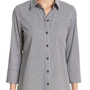Lafayette 148 Pagat Gingham Button Up Shirt Casual